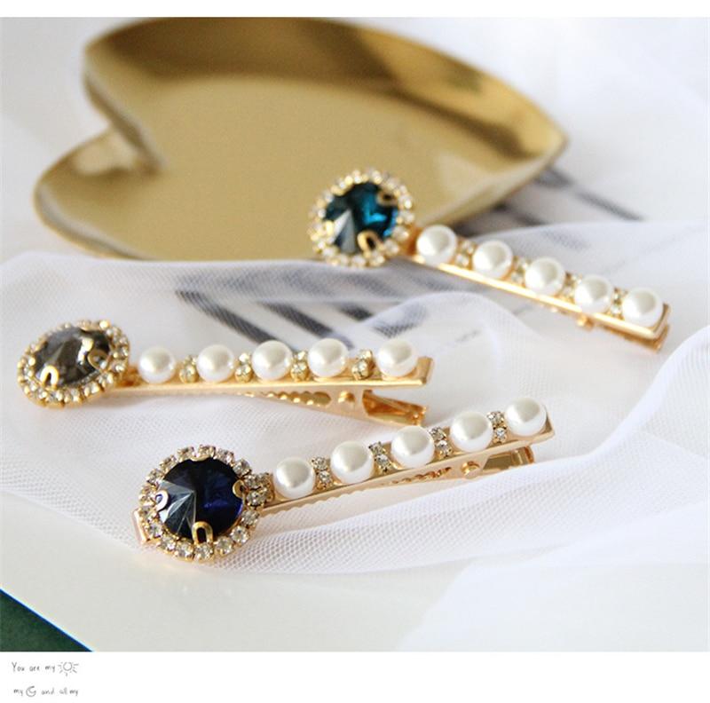 Fashion Women Gorgeous Shiny Pearl Crystal Diamond Hairpins Hair Clip Headwear for Elegant Gils