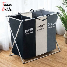 Laundry Basket Two/Three Grids Dirty Clothes Storage Basket Organizer Basket Collapsible Waterproof Folding Large Laundry Hamper