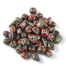 Perles tibétaines de prière rétro du népal, en corail rouge fait à la main, pour la fabrication de bijoux, colliers bricolage Bracelets DIY 8 ~ 25x8 ~ 13mm F70