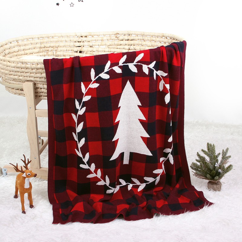 Children\'s Knitted Air Conditioning Blanket Baby Christmas Tree Classic Plaid Blanket Children Blanket