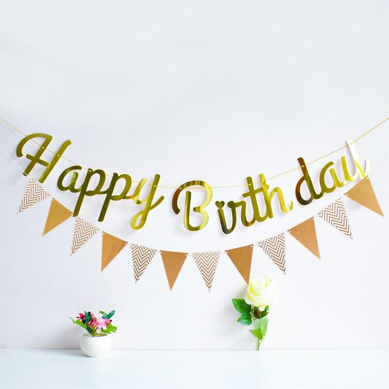 Feliz aniversário rosa ouro papel bandeira guirlanda 1st chá de bebê adulto bunting guirlanda bandeira do miúdo festa de aniversário decoração suprimentos