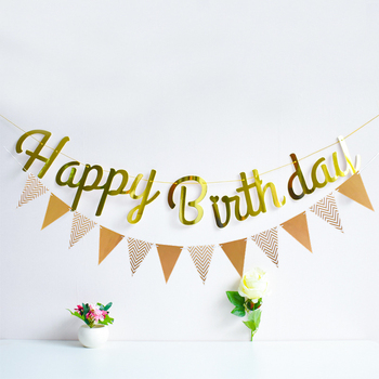 Happy Birthday Rose Gold Paper Banner Garland 1st Baby Shower Adult Bunting Garland Flag Kid Birthday Party Decoration Supplies 1 set jungle safari animal paper banner happy birthday party decorations kids baby shower banner bunting garland supplies