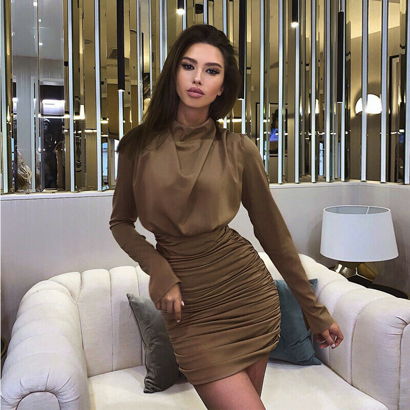 Sexy Dress Womens Pleated Wrap Bodycon Dress Office Lady Party Formal Dress Bandage Long Sleeves Slim Solid Mini Dresses Vestido