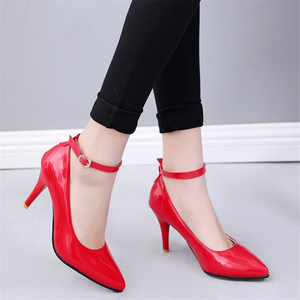 Image 4 - Fashion High Heels Women Pumps Shoes Elegant Ankle Straps ThinHeels Solid Casual Classic Red Nude Wedding Shoes Woman Big Size