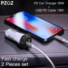 PZOZ PD Autolader 18W 36W Dual USB opladen Telefoon Adapter Auto Snel Opladen 3.0 Voor iPhone X 8 Plus Samsung Xiaomi auto oplader