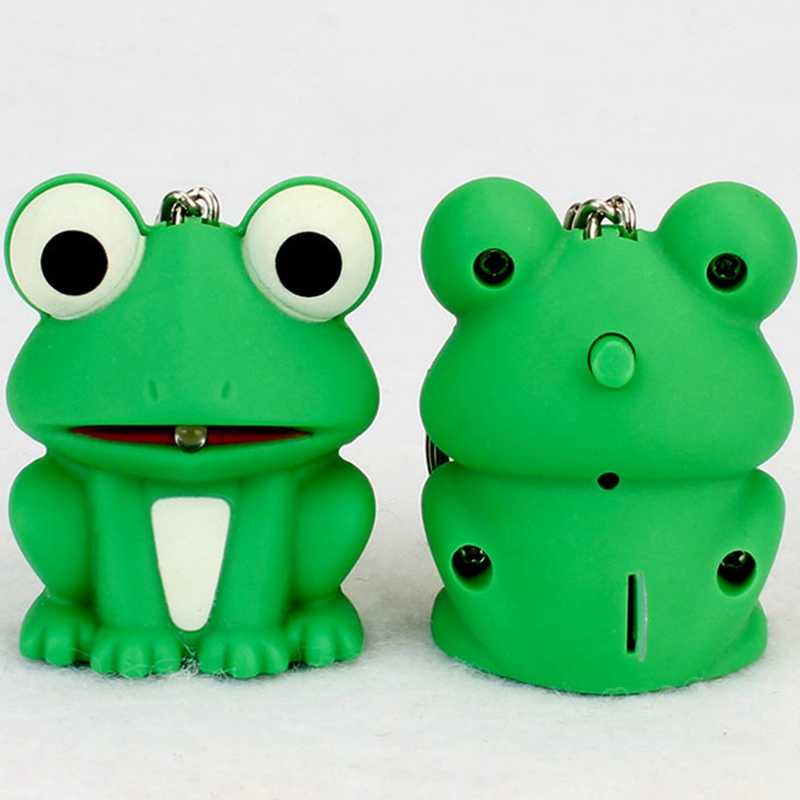 Funny Lovely Green Frog Key Chain With LED Light Sound Keyrings Kids Toy Gift Decorate Bag Keychains Beautiful Keyring