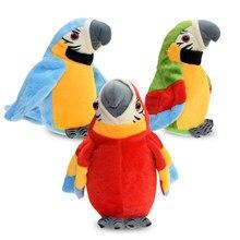 Bonito elétrico falando papagaio brinquedo de pelúcia falando registro repetições acenando asas electroni pássaro recheado brinquedo de pelúcia como presente para crianças bi