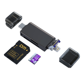 Czytnik kart DM 5 w 1 CR023 czytnik kart SD TF Muldti z interfejsem USB lightning i micro usb tanie i dobre opinie Zewnętrzny Wszystko w 1 Wiele w 1 Micro SD