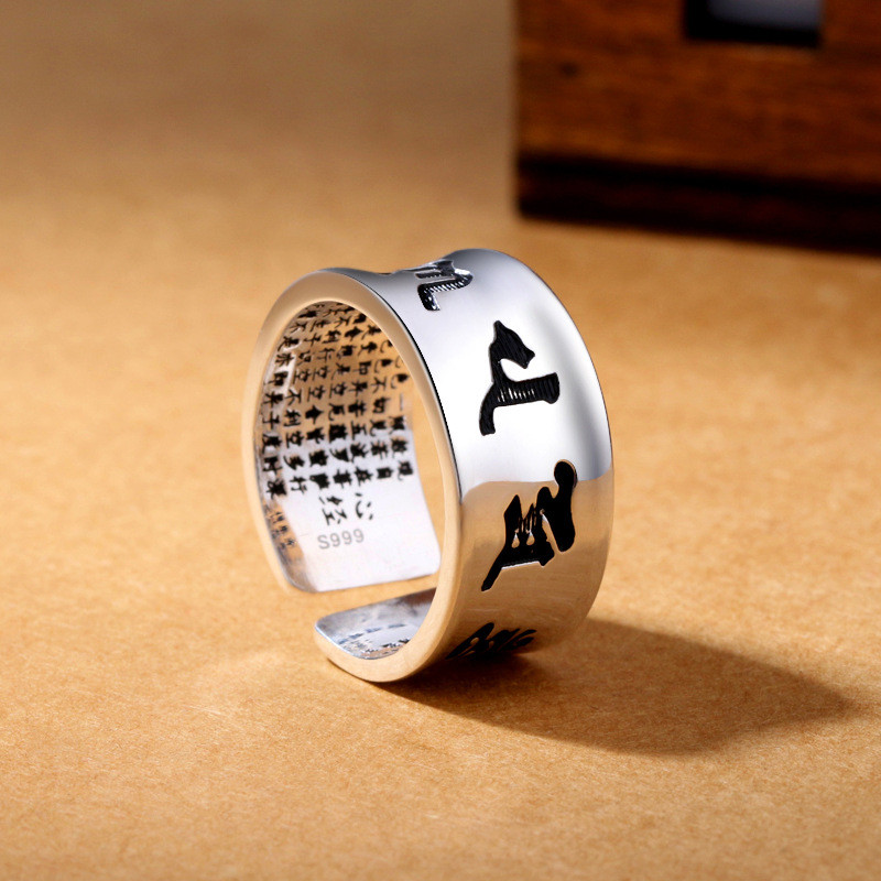 Real 999 Silver Vintage Ring Six Characters Opening Man Ring Thai Silver Handmade European And American Fashion Jewelry