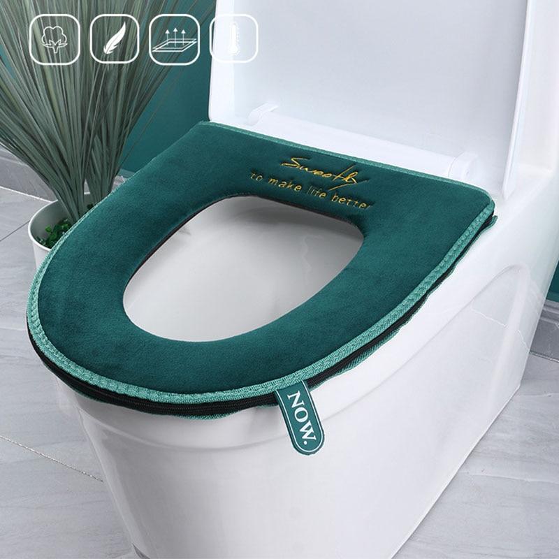 Warm Toilet Seat Cover With Handle Soft Plush Zipper Toilete Accessories Bathroom Decoration Accessories Wc Mat