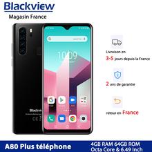 Blackview A80 Plus 4680mAh batterie 4G téléphone tragbare Octa Core Smartphone 4GB + 64GB 13MP Quad caméra téléphone tragbare cheap Andere 6 44 Nicht abnehmbar CN (Herkunft) Android Fingerprint Anerkennung Gesicht Anerkennung CDMA WCDMA 802 11 n 2 4 GHz