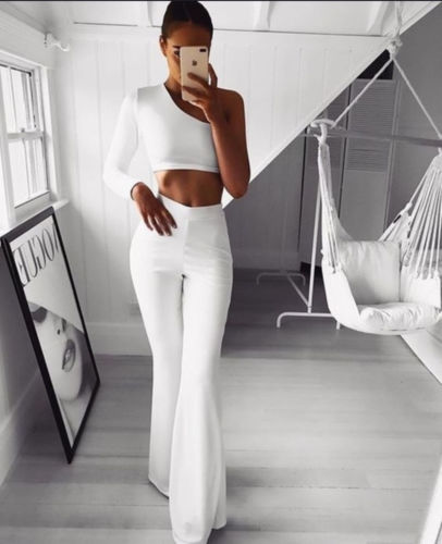 Hot Women Pants Plain Palazzo Wide Leg High Waist Office Lady Skinny Solid Casual Flared Trousers Long Loose OL Work