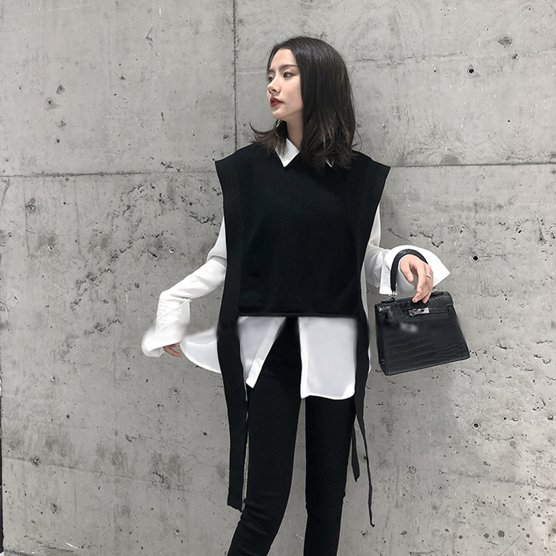 New Cashmere Knit Vest Female Loose Fashion Sleeve Round Neck Sleeveless Sweater Short Paragraph 2019 ATTYYWS Vest Soft And Warm