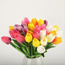 Tulips Flower Real-Touch Bouquet Garen-Decor Mini Home PU Wedding for Party 10pcs