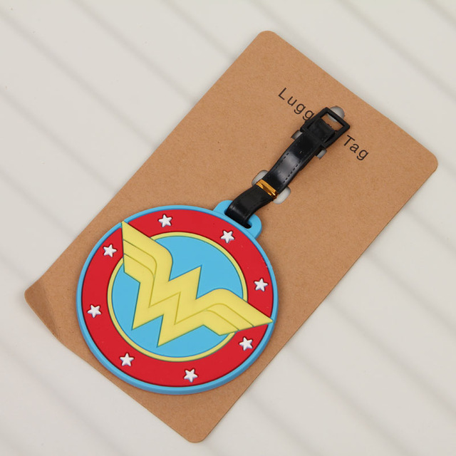 COSANER  Superman Wonder Women Luggage Tag PVC Pendants Portable Travel Label Suitcase  Address Holder Tags Anime