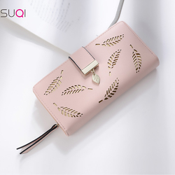 2019 Women Wallet Gold Hollow Leaves Long Purse Female Wallets Women Pouch Purse For Women Coin Purse Card Holders Money Pocket