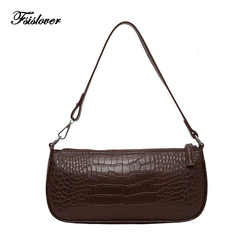 Vintage Small Shoulder Bags For Women Crocodile Leather Baguette Bag Brand Mini Designer Black Womens Handbags Purse Clutch