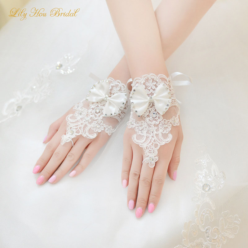Ivory Short Fingerless Lace Bridal Gloves with Crystals and Lovely Bow Sheer Wedding Gloves for Brides