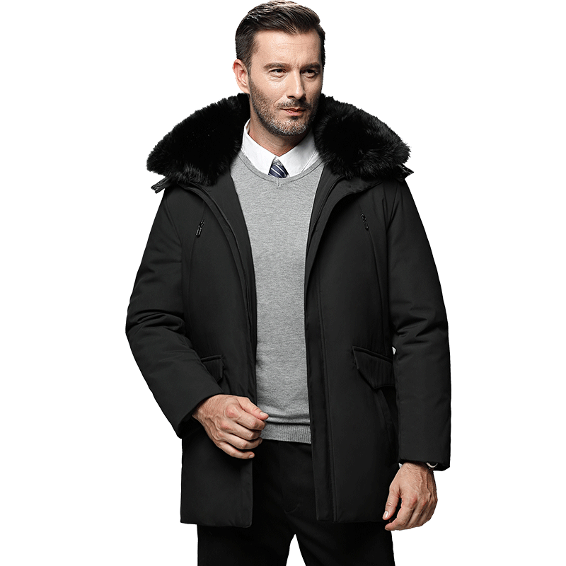New Russia Winter Men Jacket Brand White Duck Down Jacket Men Fur Collar Doudoune Homme Casual Business Men's Long Coat 4XL