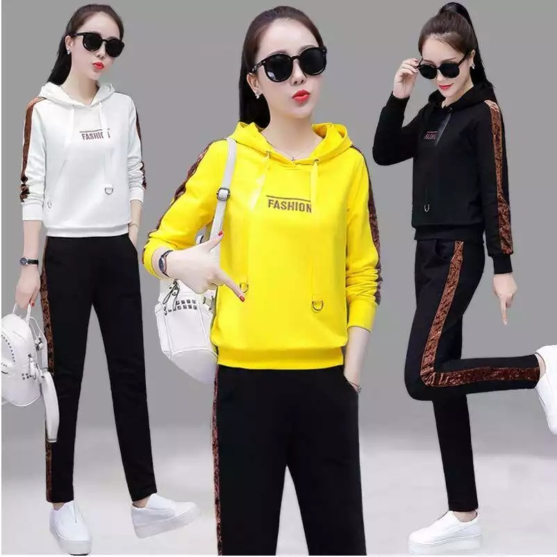 Autumn New Style WOMEN'S Dress Sports WOMEN'S Suit Korean-style Loose-Fit Fashion Embroidered Casual Hooded Two-Piece Set