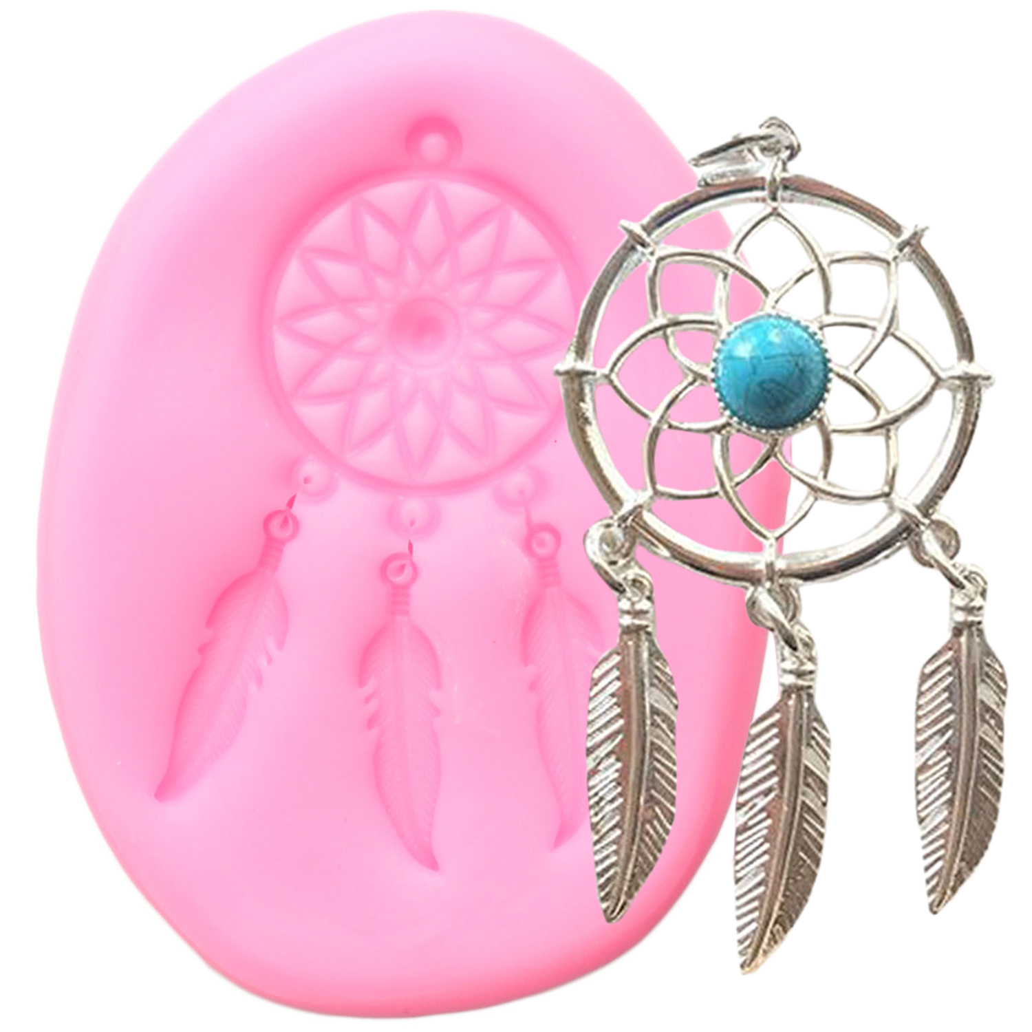 Flower Pendant Silicone Mold Feather Wind Chimes Fondant Molds Cake Decorating Tools Candy Polymer Clay Chocolate Gumpaste Mould