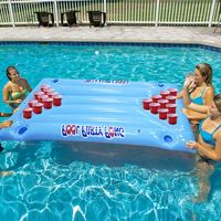 High PVC Inflatable Beer Pong Table Mattress Lounge Pool Float 24 Cup Holder for Summer UEJ