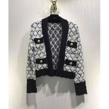 Cosmicchic Cardigan Women Knitted Coat V-Neck Pockets Argyle Golden Button Short Knitted Sweater Fashion Cadigan 2020 Femme