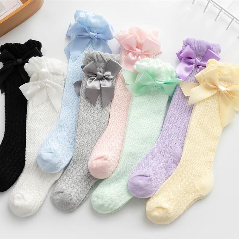 Mesh Socks Knee Babies Baby-Girls Summer Princess Stripe Bow-Dess Vertical Anti-Mosquito