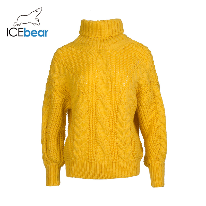 ICEbear 2019 Autumn And Winter New Women's Lapel Large Twisted Long-sleeved Sweater Women's Knit Top AW-232