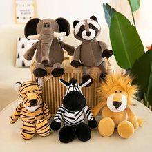 25cm zwierzęta leśne wypchane pluszowe lalki dla dzieci żyrafa słoń małpa lew tygrys pluszowe zabawki zwierzęta prezenty urodzinowe dla dzieci