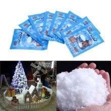 10 шт. искусственный снег мгновенный пушистый снег порошок Снежинка супер абсорбент Замороженные Волшебные Вечерние украшения Рождественский подарок игрушка для детей