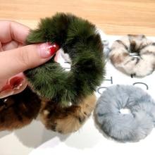 Осень Зима Новая эластичная резинка для волос простой мягкий кроличий мех плюшевая повязка для волос повязки для волос аксессуары для женщин