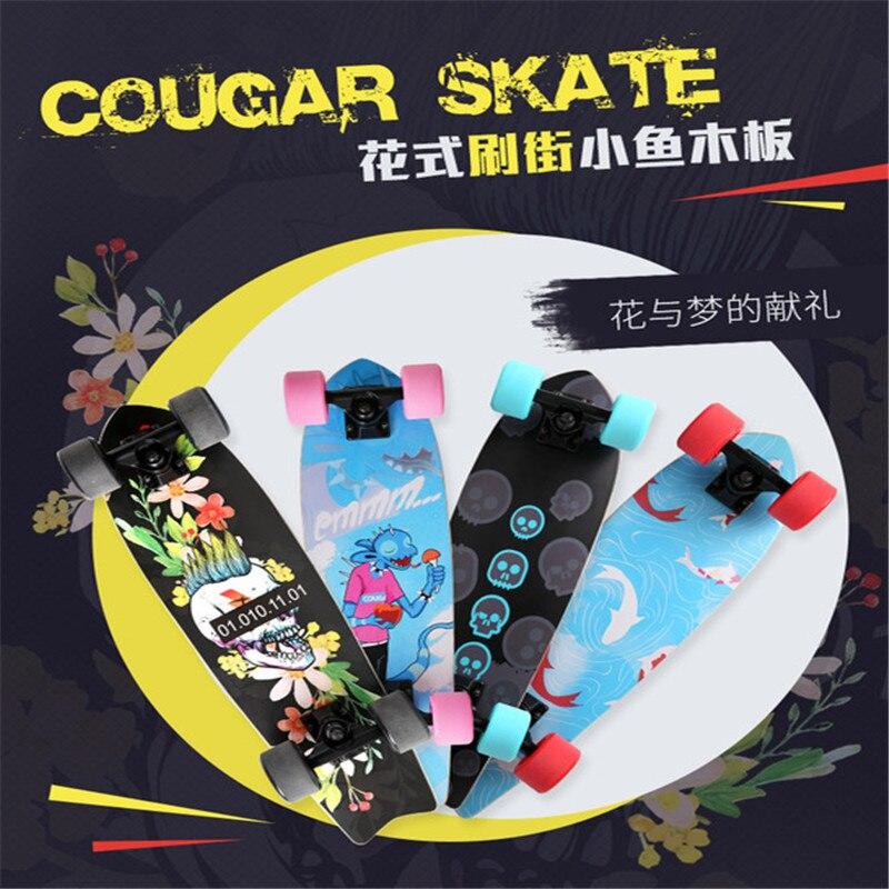 Mini Penny Board 64CM Kids Skateboard Professional Maple Four-wheel Single Rocker Fish Board Children Brush Street