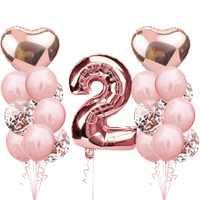Globos de 2 ° cumpleaños, globos de número dorado rosa, 1 3 4 5 6 7 8 9 años, decoraciones para fiesta de cumpleaños, niños, niño y niña, decoración de Bautismo