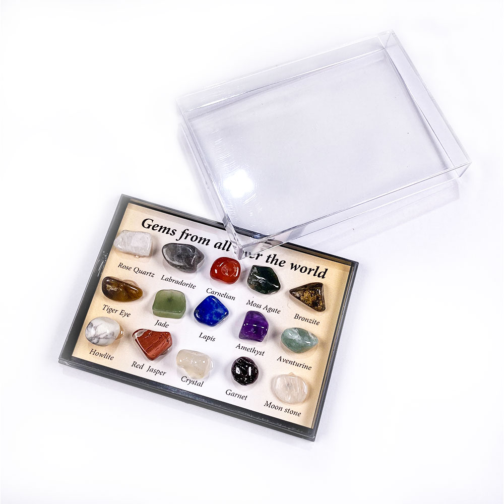 2020 Natural Stone Mineral Specimen Box Containing Fifteen Different Types Of Stone Room Ornaments Collection 10-15mm