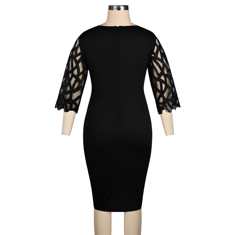 L-6XL Plus Size Dress Ladies Casual Lace 3/4Sleeve Openwork Elegant Dresses Women Spring Fall White Rose Print Black Dress - plus-size-dresses