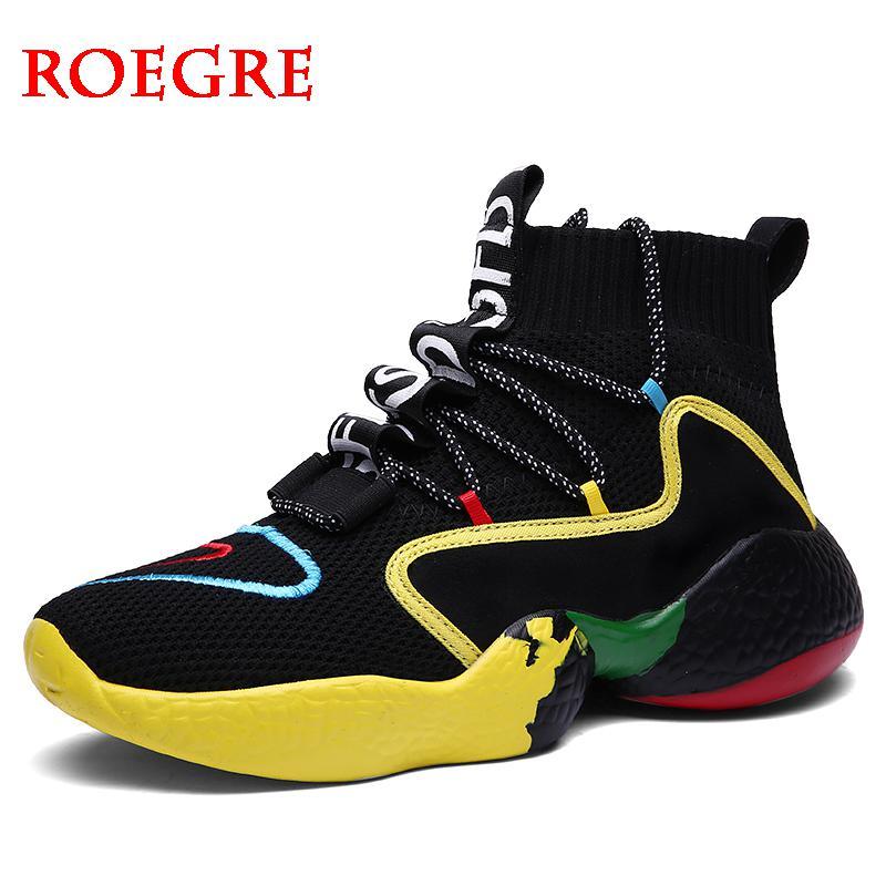 Nouveau hommes baskets décontractées mode chaussettes chaussures hommes haute aide à lacets tricot respirant chaussures de marche chaussures de marche homme grande taille 47 48
