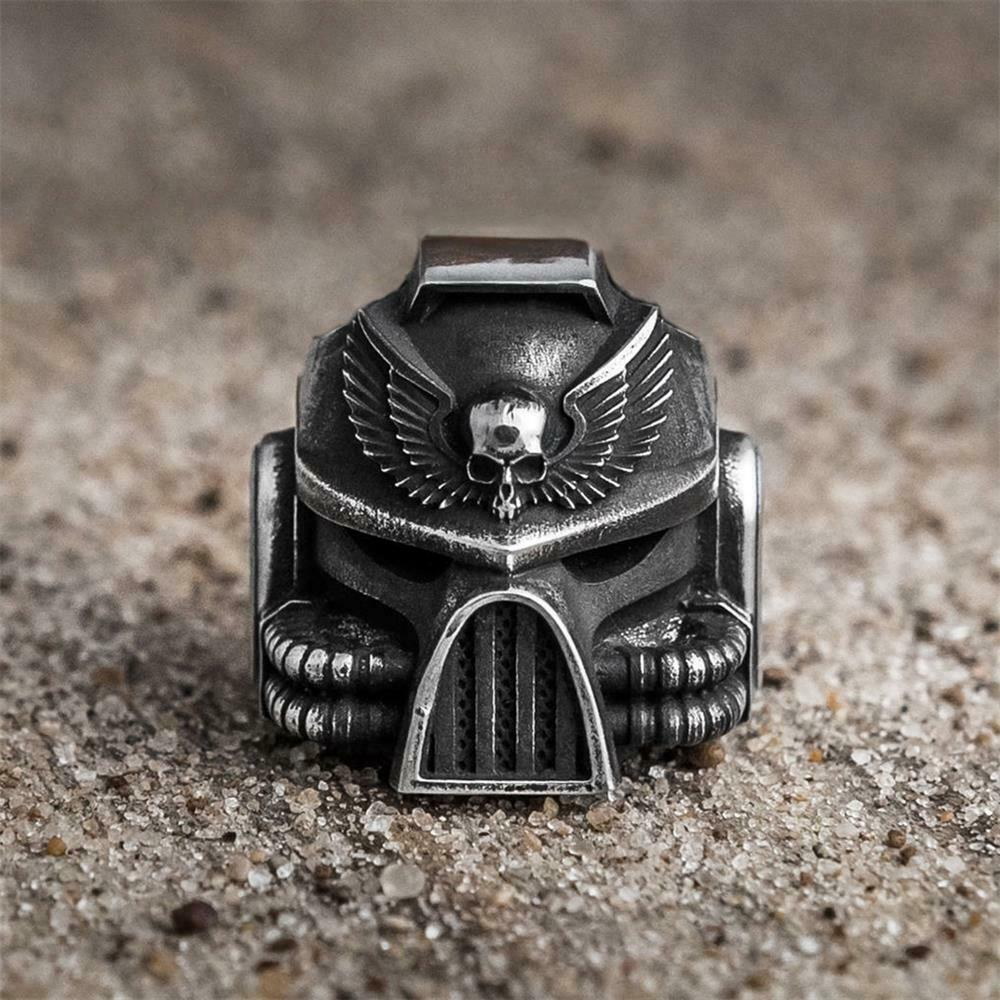 EYHIMD Unique Mens Vintage Heavy SKull Ring 316L Stainless Steel Rings Punk Biker Jewelry Gifts for him