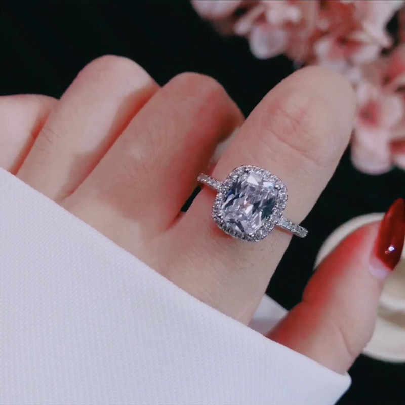 CC خواتم للنساء الزفاف الزفاف Anelli العصرية مجوهرات خاتم الخطوبة الذهب الأبيض اللون Anillos CC595