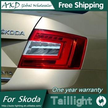 AKD Car Styling for Skoda Octavia Taillight 2014-2015 New Octavia LED Taillight LED DRL Bi Xenon Lens High Low Beam Parking