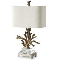 Modern Gold Coral Resin Table Lamps Fashion Bedroom Bedside Lamp E27 Holder Reading Crystal Base Desk Lights abajur para quarto