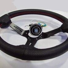 """1""""(350 мм) ND кожаное рулевое колесо рулевое управление красная линия колесо светильник глубокий гоночный руль Алюминий полка"""