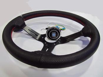 14 #8222 (350mm) ND kierownica skórzana czerwonej linii kierownicy światło na koła głębokie wyścigi kierownica aluminiowa półka tanie i dobre opinie NoEnName_Null racing sports leather FRONT china