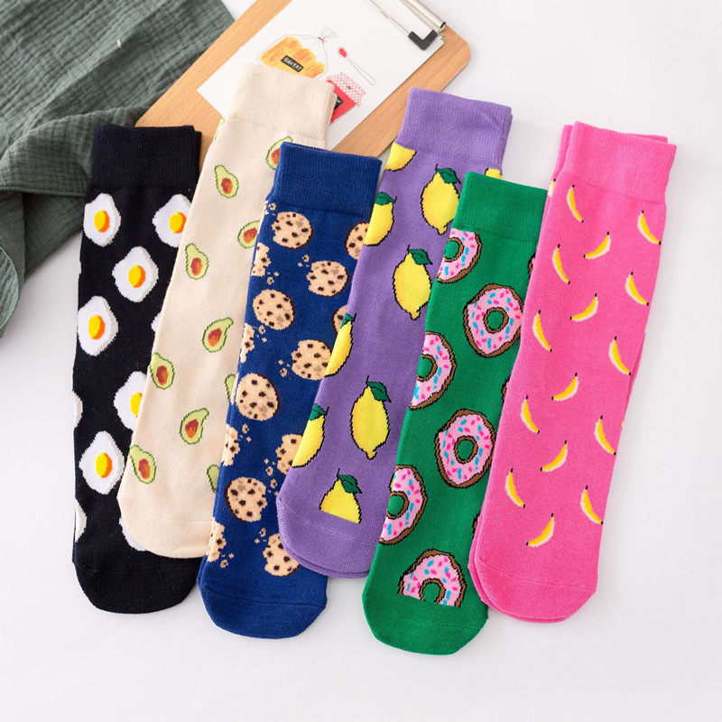 Women Socks Funny Cute Cartoon Fruits Banana Avocado Lemon Egg Cookie Donuts Food Happy Japanese Harajuku Hip Hop Cotton Socks