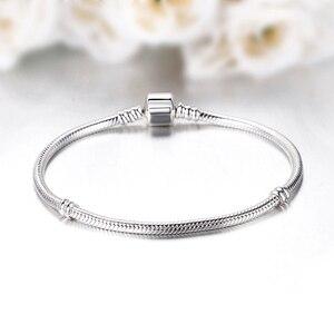 Image 2 - Original 100% 925 Sterling Silver Bracelet Bead Charm Heart Snowflake Rose Snake Chain Basic Bracelets Pan Women DIY Jewelry