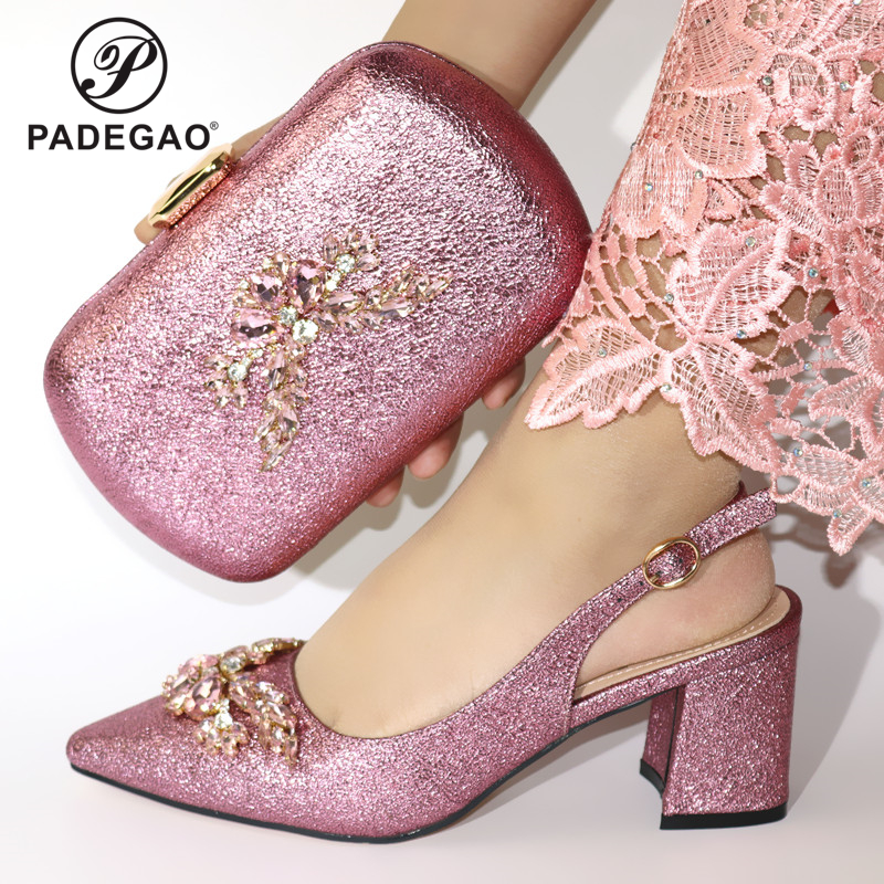 Fashion Women Pink Color Sandals And Bag Set To Match High Quality African Shoes With Matching Bags For Wedding Party