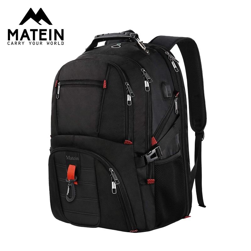 Matein 17 pouces sac à dos pour ordinateur portable avec Port USB et sangle de bagage pour hommes 2019 femmes sacs de voyage grande capacité sac d'affaires