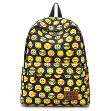 Smiley Face Expression Backpack Woman School Bag for Teenage Girls 14inch Laptop Backpack Cute Yellow Primary Student Bagpack