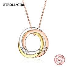 Strollgirl collar de plata de ley 925 con colgante personalizado, palabras personalizadas y fecha, collar de 3 círculos con cierre, joyería para mujer.