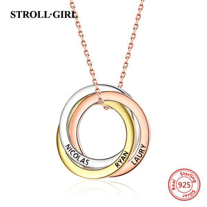 Image 1 - Strollgirl collar de plata de ley 925 con colgante personalizado, palabras personalizadas y fecha, collar de 3 círculos con cierre, joyería para mujer.